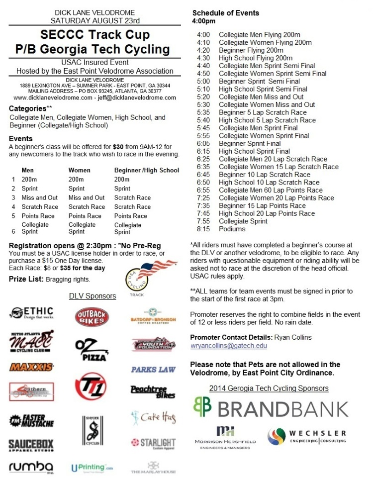 2014 SECCC Track Cup Flyer (7.29.2014)
